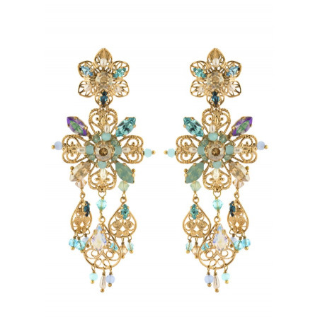 Fantasy gold metal earrings | Turquoise