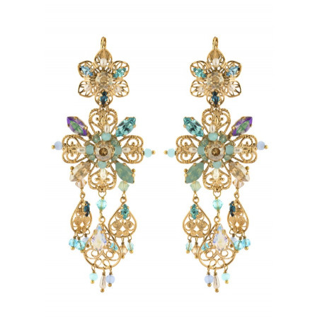 Delicate earrings in gold metal | Turquoise