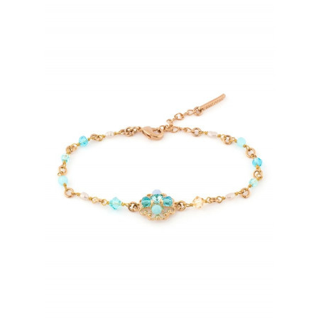 Fashionable gold metal bracelet | Turquoise