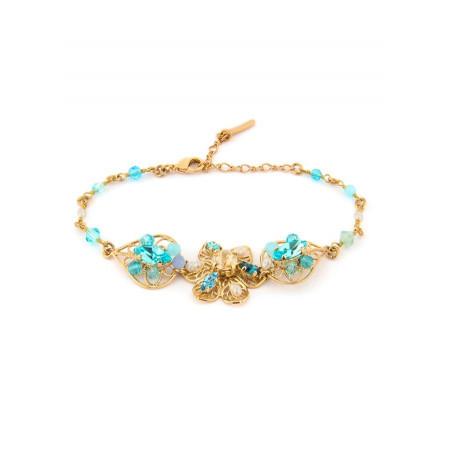 Refined gold metal bracelet | Turquoise