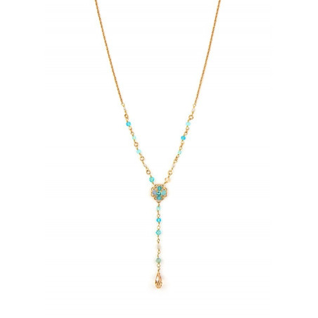 Fashionable gold metal necklace | Turquoise