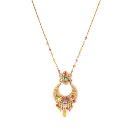 Collier féminin métal doré et | Multicolore