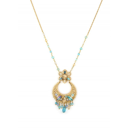 Luxurious gold metal necklace | Turquoise