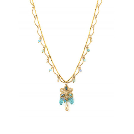 Summer gold metal necklace | Turquoise