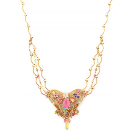 Glamorous gold metal, Japanese bead and mother-of-pearl necklace | Pastel