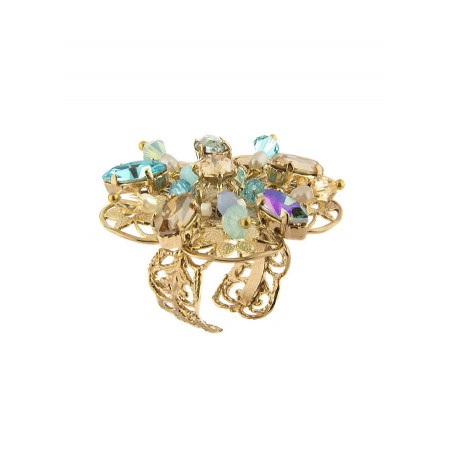 Refined Japanese bead ring   Turquoise