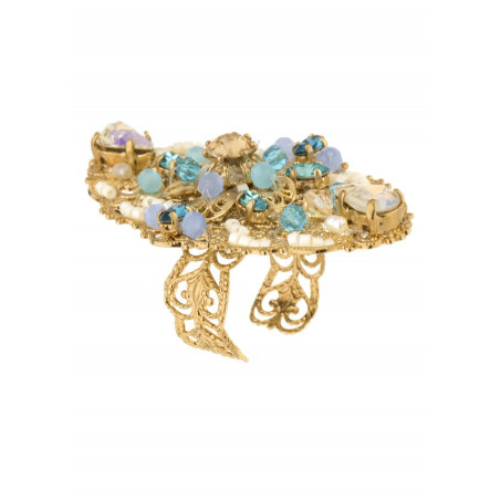 Luxurious gold metal ring | Turquoise