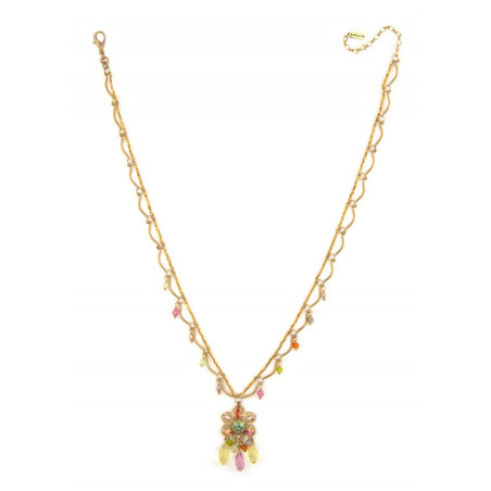 Ethnic gold metal necklace | Pastel63107