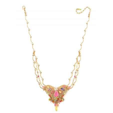 Glamorous gold metal, Japanese bead and mother-of-pearl necklace | Pastel63114