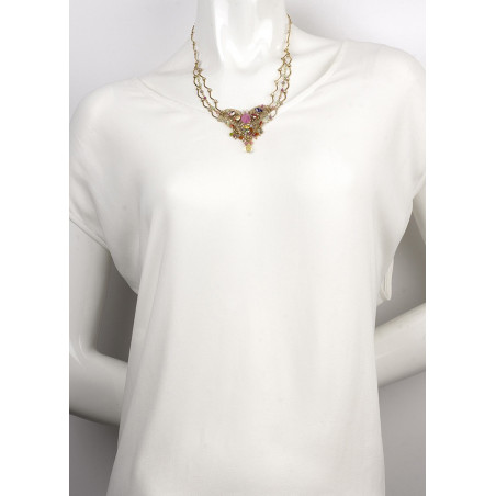 Glamorous gold metal, Japanese bead and mother-of-pearl necklace | Pastel63115