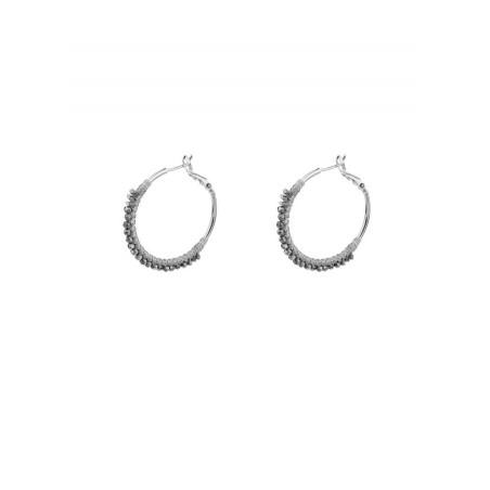 Feminine silver metal hoop earrings| Silver