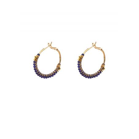 Elegant lapis lazuli and hematite hoop earrings | Blue
