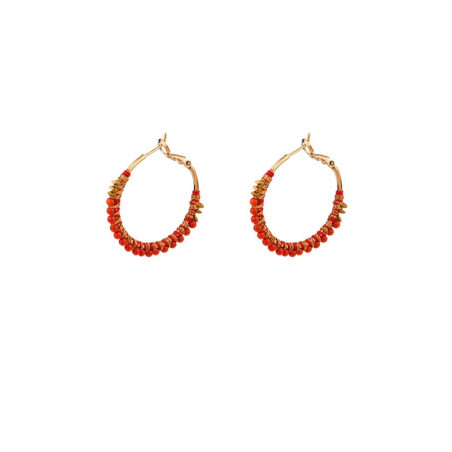Feminine sea bamboo hoop earrings   Corail