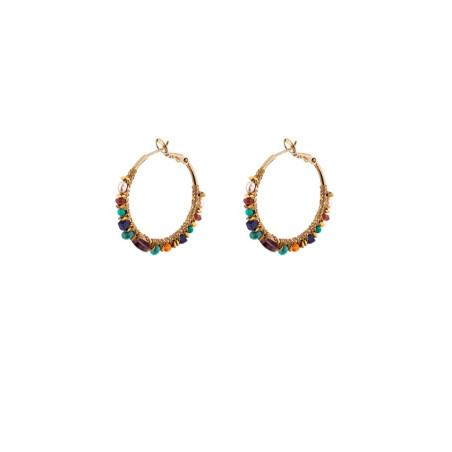 Chic gold metal hoop earrings  Multicolor