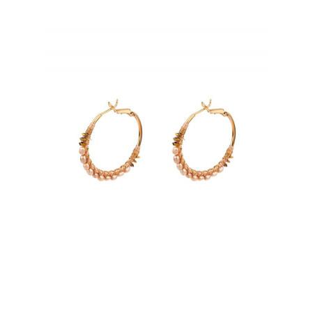 Original mother of pearl and hematite hoop earrings | Pink