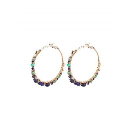 Feminine silver metal hoop earrings  Multicolor