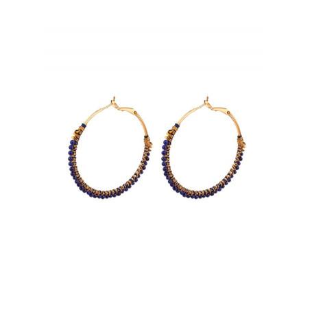 Delicate lapis lazuli and hematite hoop earrings | Blue