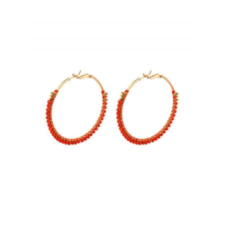 Ethnic sea bamboo hoop earrings   Corail