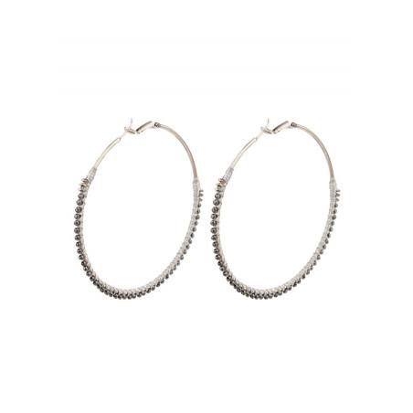 Glamorous silver metal hoop earrings  Silver