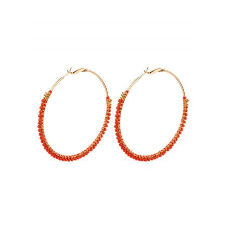 Glamorous sea bamboo hoop earrings   Corail