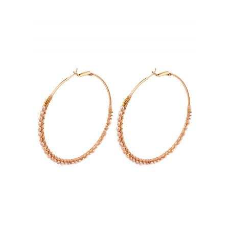 On -trend mother of pearl and hematite hoop earrings   Pink