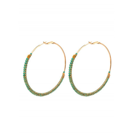 Coloured turquoise and hematite hoop earrings | Turquoise