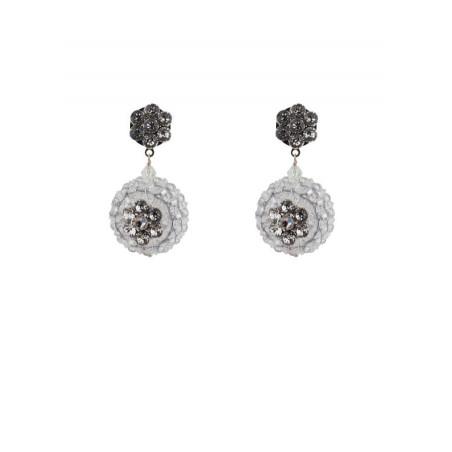 Fashion silver metal crystal earrings | Crystal