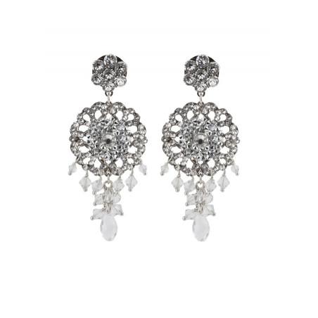 Boucles d'oreilles féminines en métal argenté et cristaux | Argenté