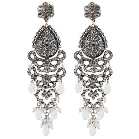 Boucles d'oreilles raffinées en métal argenté et cristaux | Argenté