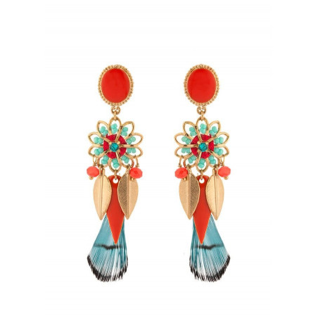 Feminine gold metal earrings | Blue