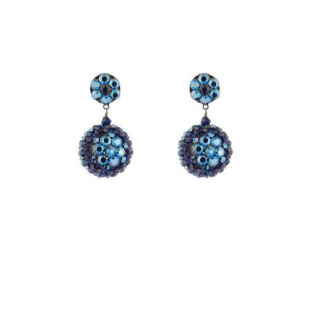 Fashion gun metal crystal earrings | Blue