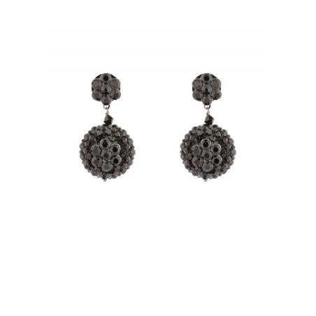 Boucles d'oreilles mode en métal laqué et cristaux | Noir