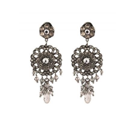 Boucles d'oreilles féminines en métal gun et cristaux | Argenté