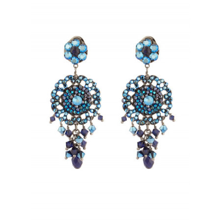 Boucles d'oreilles féminines en métal gun et cristaux | Bleu