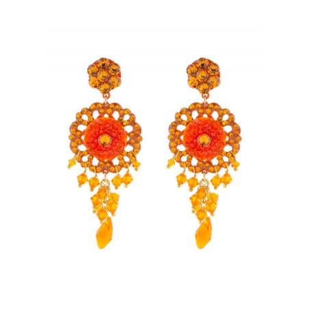 Boucles d'oreilles féminines en métal laqué et cristaux   Orange