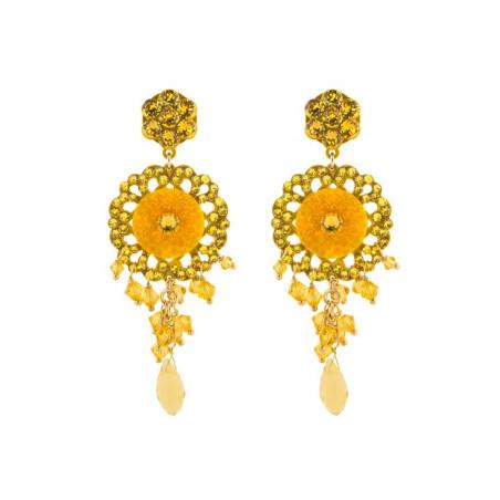 Feminine lacquered metal crystal earrings | Yellow