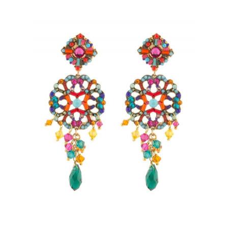 Boucles d'oreilles féminines en métal doré et cristaux | Multicolore