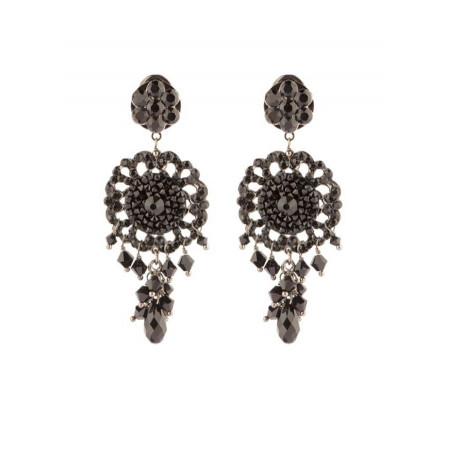 Boucles d'oreilles féminines en métal laqué et cristaux   Noir