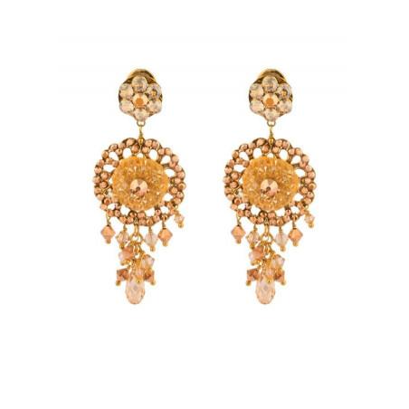 Boucles d'oreilles féminines en métal doré et cristaux | Doré