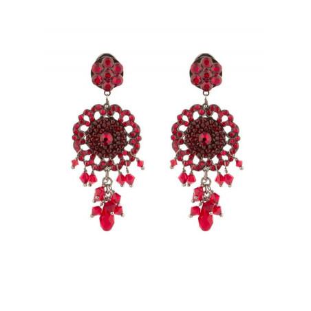 Feminine gun metal crystal earrings | Red
