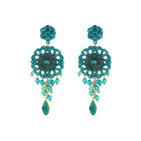 Boucles d'oreilles féminines en métal laqué et cristaux   Zircon