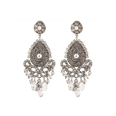 Glamorous gun metal crystal earrings   Silver