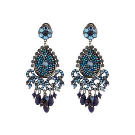Glamorous gun metal crystal earrings | Blue