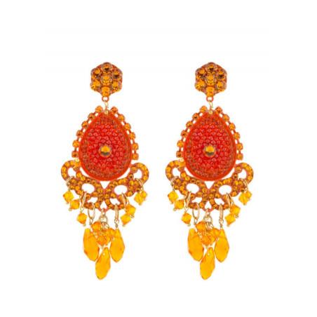 Boucles d'oreilles glamour en métal laqué et cristaux | Orange