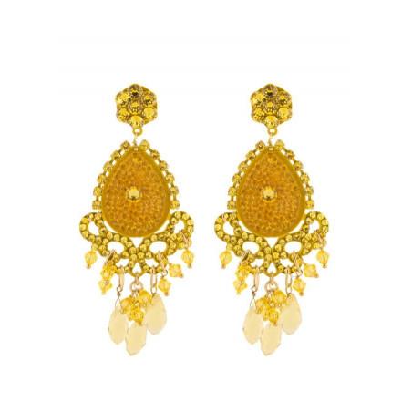 Boucles d'oreilles glamour en métal laqué et cristaux | Jaune