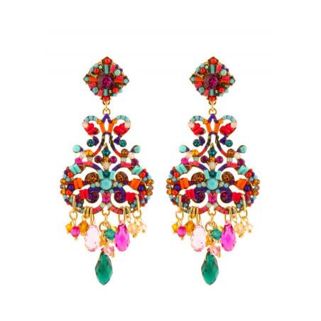 Glamorous gold metal crystal earrings   Multicolor