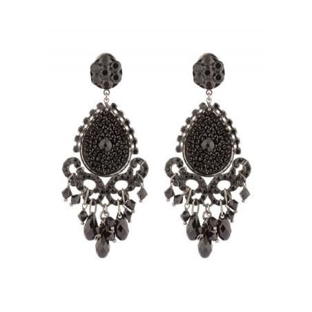 Boucles d'oreilles glamour en métal laqué et cristaux | Noir