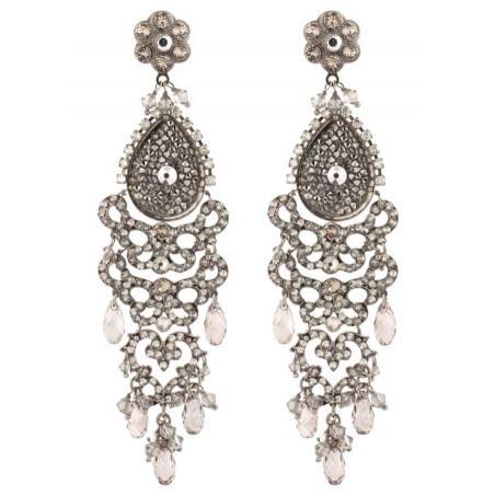 Boucles d'oreilles raffinées en métal gun et cristaux | Argenté