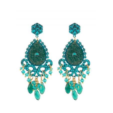 Boucles d'oreilles glamour en métal laqué et cristaux   Zircon