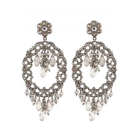 Delicate gun metal crystal earrings   Silver